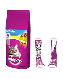 WHISKAS Sterile hrana uscata pentru pisici adulte sterilizate, cu pui 14kg + soseste GRATIS