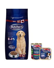 BUTCHER'S Blue+ hrana uscata caini adulti, cu vita 15 kg + 2 x hrana umeda GRATIS