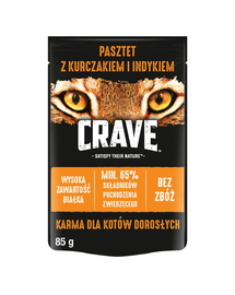 CRAVE hrana umeda fara cereale pentru pisici adulte, pate de pui si curcan 24 x 85g