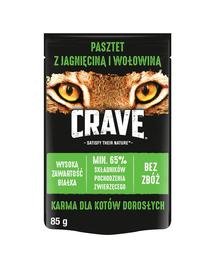 CRAVE hrana umeda fara cereale pentru pisici adulte, pate de miel si vita 24 x 85g