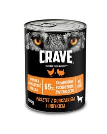 CRAVE Hrana umeda fara cereale pentru caini adulti pate de pui si curcan cutie de 24x400g