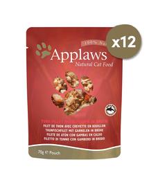 APPLAWS Cat Pouch hrana umeda pentru pisici, cu ton si creveti 12 x 70 g
