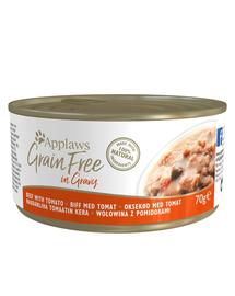 APPLAWS Cat Tin Grain Free - Hrană umedă pentru pisici - vită cu roșii în sos - 70g