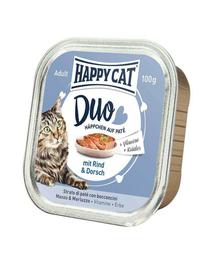 HAPPY CAT Duo pate vită și cod 100 g