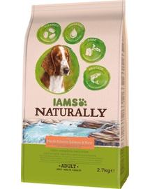 IAMS Naturally Adult - Hrană uscată pentru câini bogată în somon din Atlanticul de Nord și orez 2,7 kg