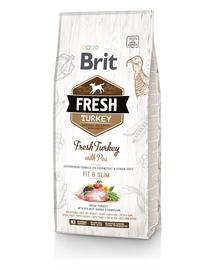 BRIT Fresh Light Fit&Slim Hrană uscată cu mazare și curcan 2,5 kg