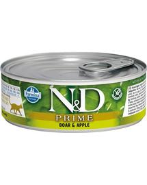 N&D Prime, Hrana umeda pentru pisici, cu mistret si mere, 80 g