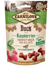 CARNILOVE Crunchy Snacks recompense pentru pisici, cu rata si zmeura 50 g