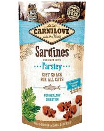 CARNILOVE Semi Moist Snacks recompense moi pentru pisici, cu sardine si patrunjel 50 g