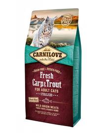 CARNILOVE - Hrană uscată pentru pisici adulte, după castrare / sterilizare - crap si păstrăv - 2 kg