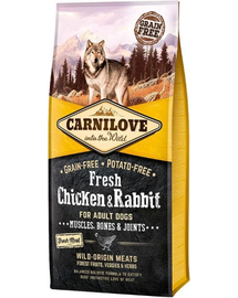 CARNILOVE Hrana uscata pentru caini adulti, cu iepure si pui 12 kg