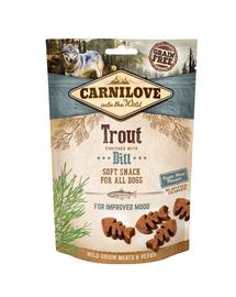 CARNILOVE Semi Moist Snacks recompense moi pentru caini, cu pastrav si marar 200 g