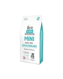BRIT Care Grain Free Mini Light&Sterilised hrana uscata caini adulti talie mica cu tendinta de ingrasare, somon si iepure 7 kg
