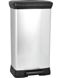 CURVER Coș de gunoi metalic cu pedală, negru/ argintiu metalic, 50 l