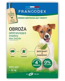 FRANCODEX Zgarda anti-purici si insecte pentru caini de talie mica, de pana la 10 kg - 4 luni de protectie, 35 cm
