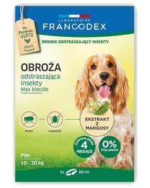 FRANCODEX Zgarda protectie anti-purici si insecte pentru caini de talie medie (între 10-20 kg) - 4 luni de protectie 60 cm