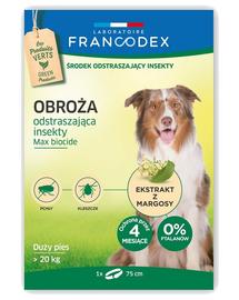 FRANCODEX Zgarda protectie anti-purici si insecte pentru caini cu greutate peste 20 kg - 4 luni de protectie, 75 cm