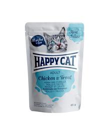 HAPPY CAT Meat in sauce Adult, pui și păstrăv 85 gr