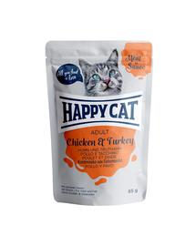 HAPPY CAT Meat in sauce Adult, pui și curcan 85 gr