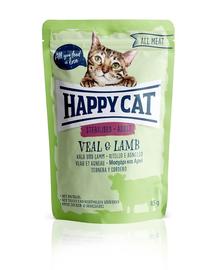 HAPPY CAT All Meat Hrana umeda pentru pisici sterilizate, cu vita si miel, 85 g