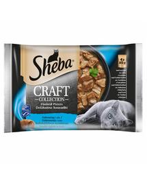 SHEBA Craft Collection 4x85g cu somon, cu ton, cu pește alb, cu cod