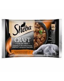 SHEBA Craft Collection 4x85g cu carne de vită, miel, curcan și pui