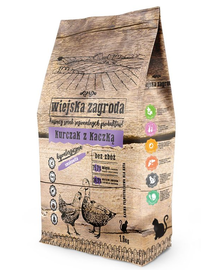 WIEJSKA ZAGRODA Hrană uscată pentru pisici, pui și rață 5 kg