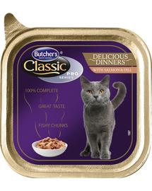 BUTCHER'S Cat Classic Delicious Dinner cu bucăți de somon și mărar în sos 100 g