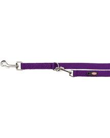 TRIXIE Lesă reglabilă Premium, dublă, M–L: 2.00 m/20 mm, violet