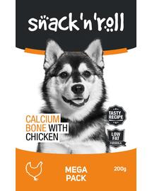 SNACK & ROLL Calcium Bone with Chicken recompense pentru caini, oase cu pui si calciu 200 g