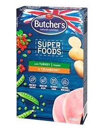 BUTCHER'S Superfoods Treats recompense cu curcan și merișoare 320 g