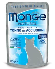 MONGE hrană umedă pentru pisici, cu ton și anșoa în jeleu 80 g
