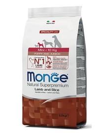 MONGE Mini Puppy&Junior hrană uscată pentru cățeluși de talie mică, cu miel și orez 800 g