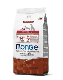 MONGE Mini Puppy&Junior hrană uscată pentru cățeluși de talie mică, cu miel și orez 2,5 kg