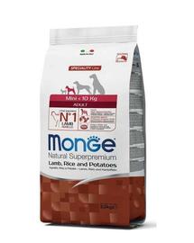 MONGE Mini Adult hrană uscată pentru câini de talie mică, miel cu orez și cartofi 2,5 kg
