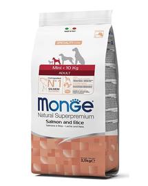 MONGE Mini Adult hrană uscată pentru câini de talie mică, cu somon și orez 2,5 kg