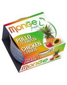 MONGE Fruit hrană umedă pentru pisici, cu pui și fructe 80 g