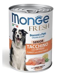 MONGE Fresh Dog Senior hrană umedă pentru câini seniori, curcan și legume 400g