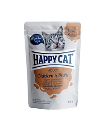 HAPPY CAT Hrana umeda pentru pisici adulte, cu pui si rata, 85 g