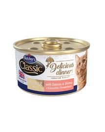 BUTCHER'S Classic Delicious Dinners hrana umeda pisici, mousse cu somon si creveti 85 g (3 + 1 GRATIS)