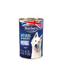BUTCHER'S Natural&Healthy Dog hrana umeda caini, pate cu miel si orez 1200 g (3 + 1 GRATIS)