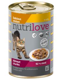 NUTRILOVE Premium hrana umeda pisici, bucati de pui in jeleu 400g
