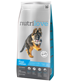 NUTRILOVE Premium hrana cu pui proaspăt pentru câini juniori cu varsta 1-18 luni, 3kg