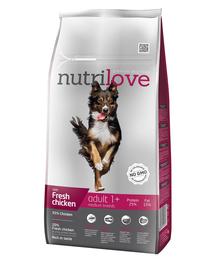 NUTRILOVE Premium cu pui proaspăt pentru câinele adult de talie mediet - 8 kg