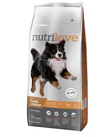 NUTRILOVE Premium cu pui proaspăt pentru câine adult de talie mare - 12 kg