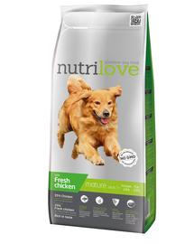 NUTRILOVE Premium hrana uscata pentru câini seniori 7+, cu pui 3 kg
