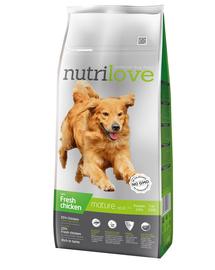NUTRILOVE Premium hrana uscata pentru câini seniori 7+, cu pui 12 kg