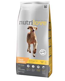 NUTRILOVE Premium hrana uscata pentru caini activi, cu pui proaspat 3 kg