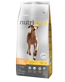 NUTRILOVE Premium hrana uscata pentru caini activi, cu pui proaspat 12 kg