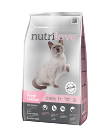 NUTRILOVE Premium hrana uscata pentru pisici sterilizate, cu pui proaspat 1,4 kg